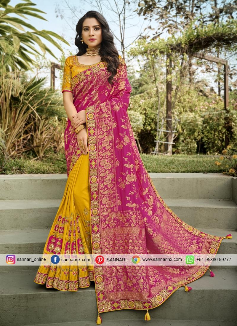 Unique Embroidered Hot Pink and Yellow Half N Half Designer Saree