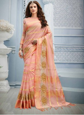 Unique Embroidered Pink Cotton Designer Saree