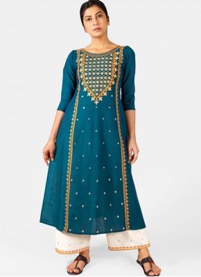 Unique Khadi Blue Embroidered Casual Kurti