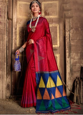 Unique Maroon Weaving Silk Traditional Designer Saree