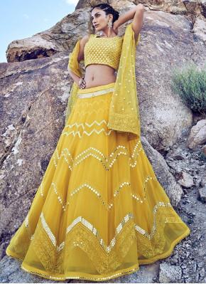 Unique Mustard Colour Chiffon Fabric Designer Lehenga Choli