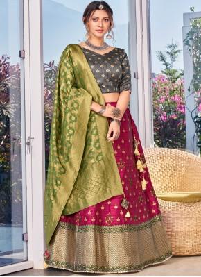 Unique Weaving Pink Silk Designer Lehenga Choli