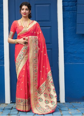 Unique Weaving Silk Pink Traditional Designer Saree