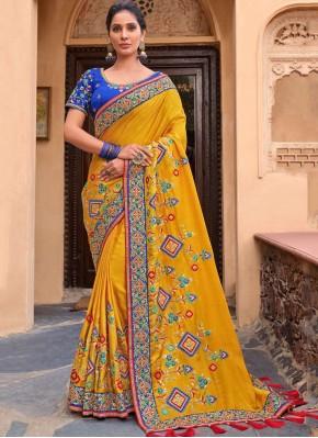 Unique Yellow Satin Traditional Saree