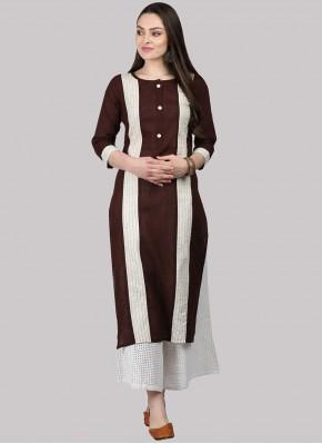 Urbane Brown Cotton Party Wear Kurti