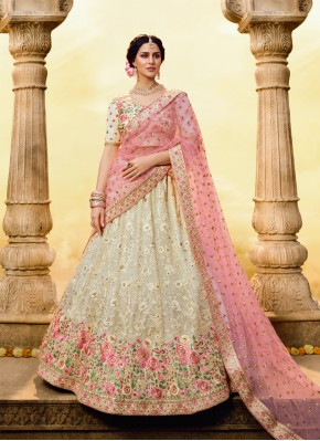 Urbane Embroidered Georgette White Designer Lehenga Choli