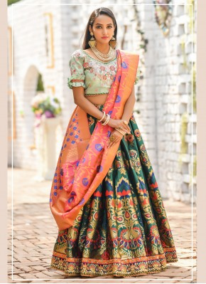 Urbane Green Embroidered Trendy Lehenga Choli