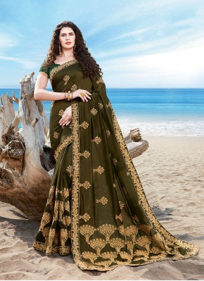 Urbane Green Silk Designer Traditional Saree