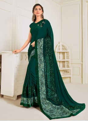 Urbane Sequins Green Trendy Saree