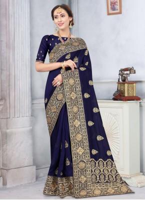Urbane Stone Navy Blue Traditional Designer Saree
