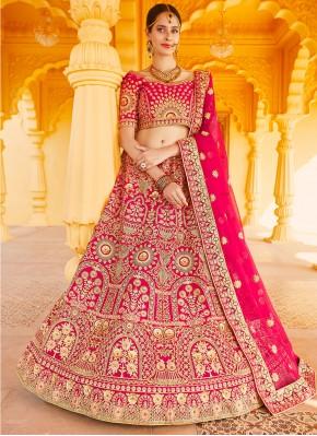 Velvet A Line Lehenga Choli in Pink