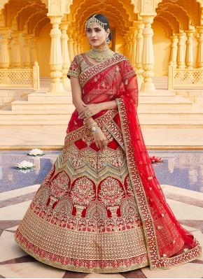 Velvet Embroidered A Line Lehenga Choli in Red