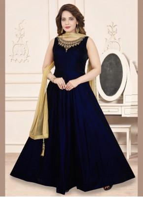 Velvet Embroidered Navy Blue Anarkali Suit