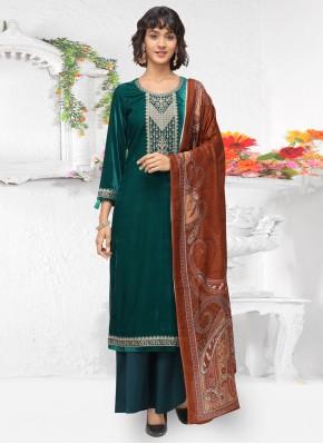 Velvet Embroidered Salwar Kameez in Green