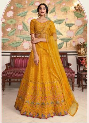 Velvet Embroidered Yellow Lehenga Choli