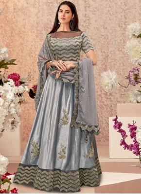 Velvet Grey Embroidered Designer A Line Lehenga Choli