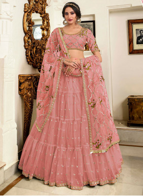 Velvet Lehenga Choli in Pink
