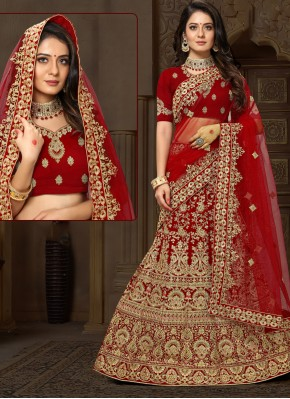 Velvet Maroon Embroidered Lehenga Choli
