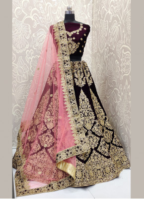 Velvet Purple Embroidered Designer A Line Lehenga Choli