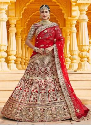 Velvet Red Zari Designer Lehenga Choli