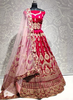 Velvet Trendy Lehenga Choli in Pink