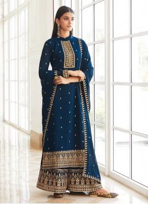 Versatile Blue Embroidered Faux Georgette Designer Palazzo Suit