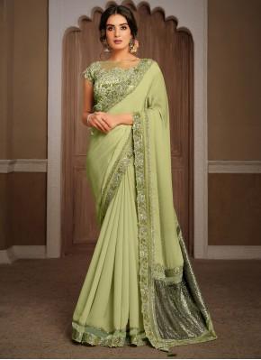 Versatile Georgette Green Classic Designer Saree