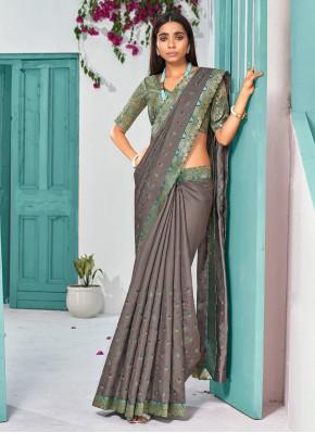Versatile Grey Lace Silk Traditional Designer Saree