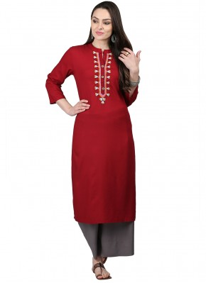 Versatile Red Fancy Rayon Party Wear Kurti