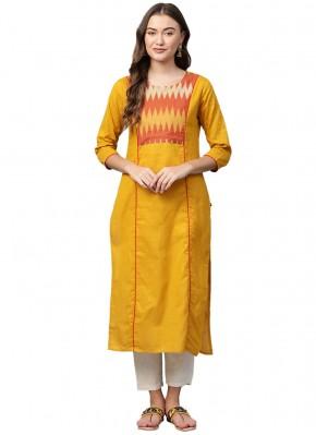 Vibrant Cotton Print Yellow Party Wear Kurti