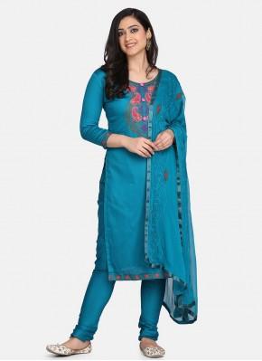Vibrant Embroidered Cotton Blue Designer Suit