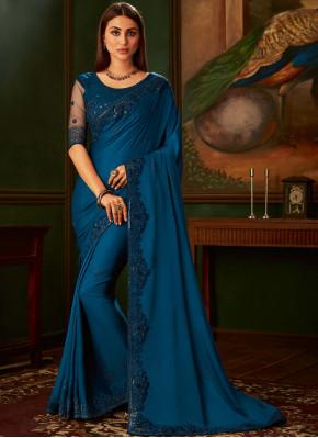 Vibrant Navy Blue Party Silk Saree