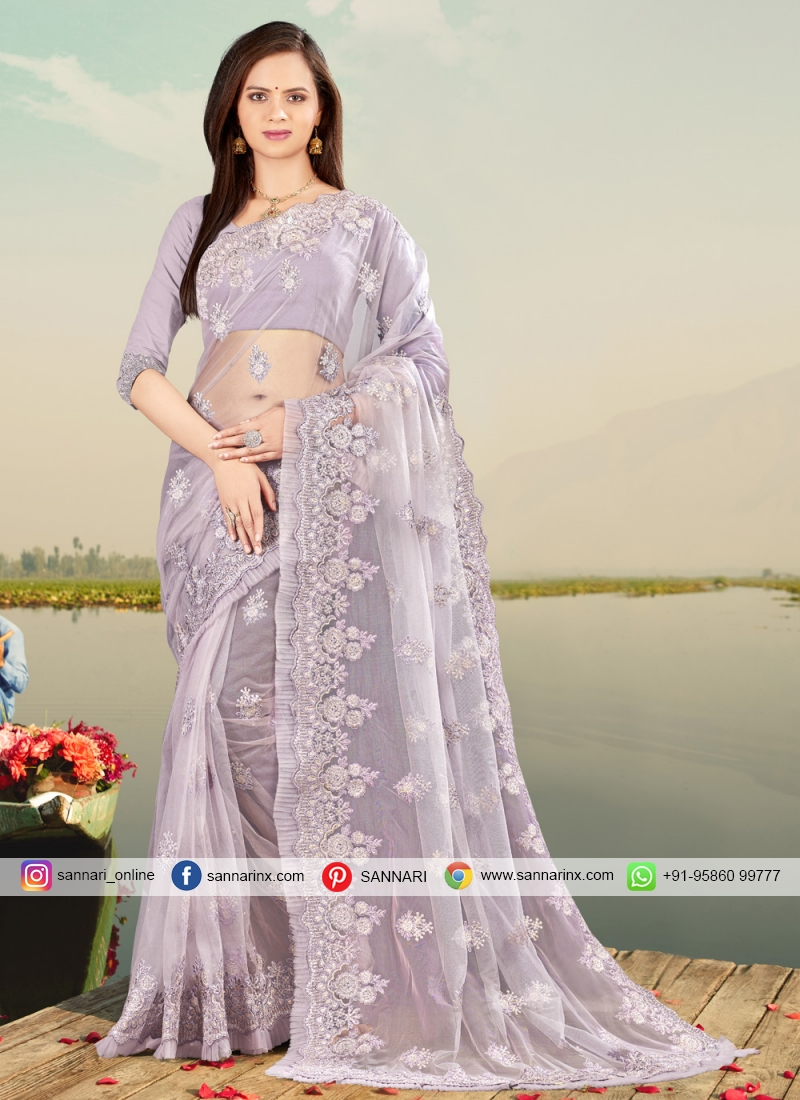 Vibrant Net Resham Lavender Designer Saree