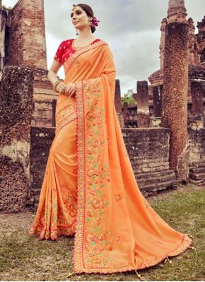Vibrant Peach Designer Saree