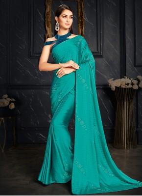 Vibrant Rama Fancy Classic Designer Saree