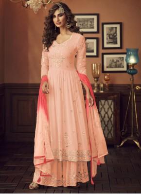 Vibrant Resham Georgette Palazzo Designer Salwar K