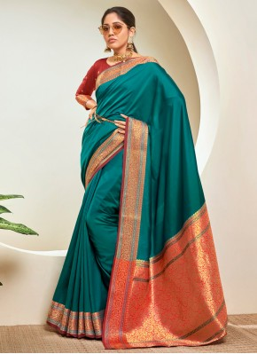 Vibrant Teal Woven Traditional Saree