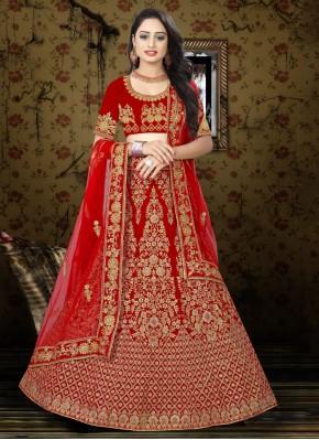 Vibrant Velvet Red Embroidered A Line Lehenga Choli