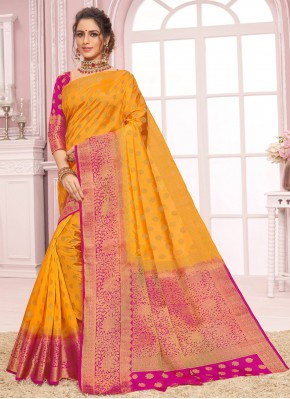 Vibrant Yellow Designer Bollywood Saree