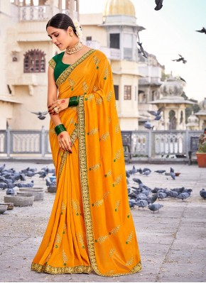 Vichitra Silk Designer Traditional Saree in Mustard