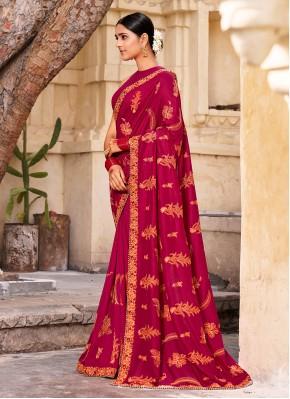 Vichitra Silk Designer Traditional Saree in Wine