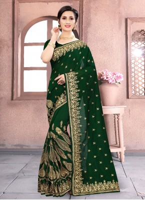 Vichitra Silk Green Embroidered Designer Traditional Saree
