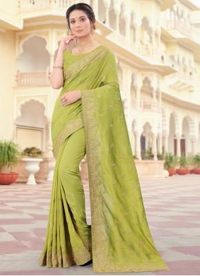 Vichitra Silk Green Patch Border Traditional Designer Saree
