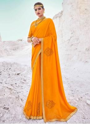 Vichitra Silk Lace Yellow Classic Designer Saree