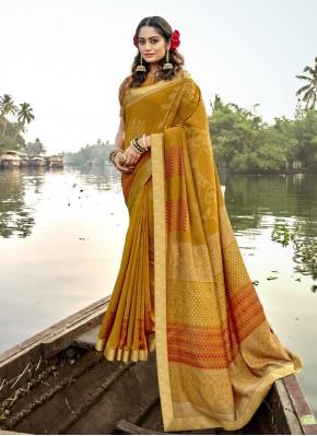 Vichitra Silk Mustard Classic Designer Saree