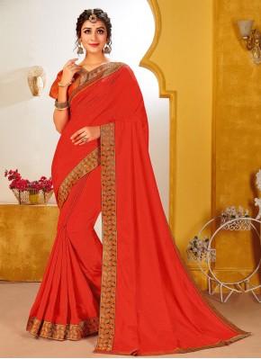 Vichitra Silk Rust Patch Border Traditional Saree