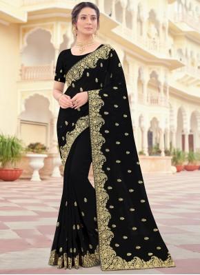 Vichitra Silk Traditional Saree in Black