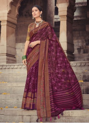 Violet Festival Cotton Silk Printed Saree
