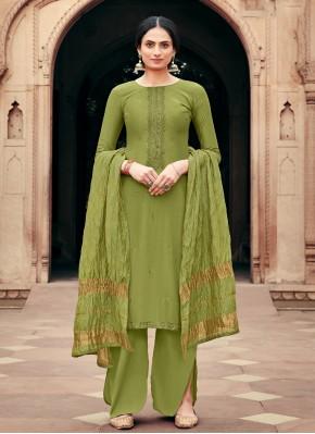 Viscose Embroidered Green Palazzo Designer Salwar Kameez