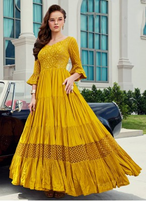 Viscose Embroidered Yellow Readymade Gown